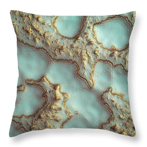 Digital Throw Pillow featuring the digital art Aqua Coral Reef Abstract by Spacefrog Designs