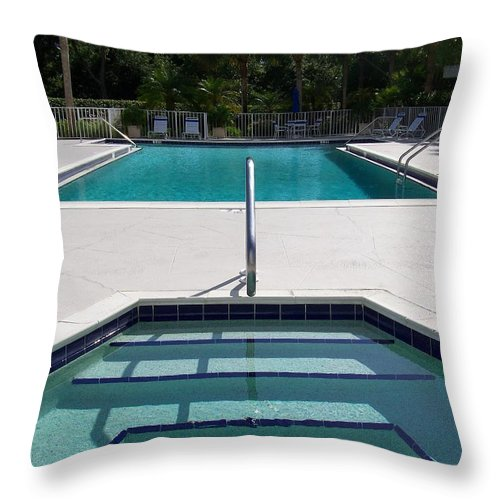 Pool Throw Pillow featuring the photograph Aqua by Laurie Paci
