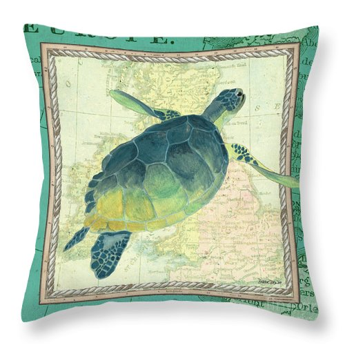 Turtle Throw Pillow featuring the painting Aqua Maritime Sea Turtle by Debbie DeWitt
