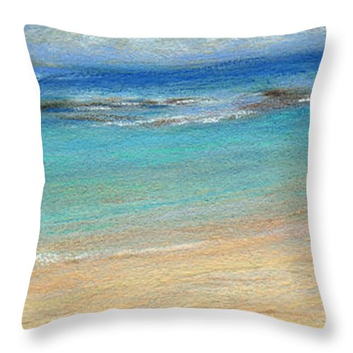 Coastal Decor Throw Pillow featuring the painting Aqua Moloa'a by Kenneth Grzesik