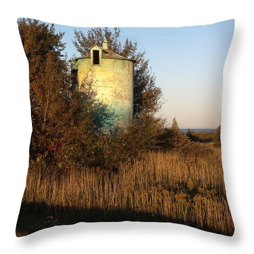 Silo Throw Pillow featuring the photograph Aqua Silo by Tim Nyberg