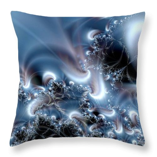 Water Bubbles Blue Nature Flow Throw Pillow featuring the digital art Aquafractal by Veronica Jackson