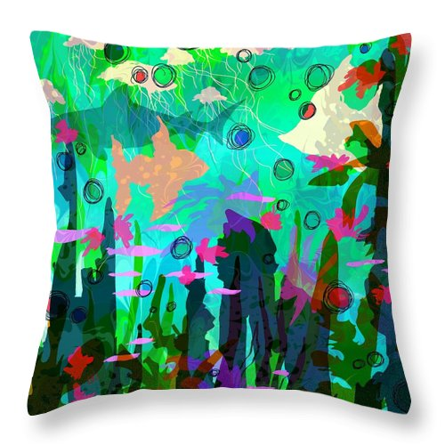 Abstract Throw Pillow featuring the digital art Aquaphoria by Rachel Christine Nowicki