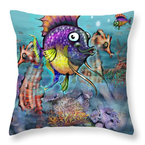 Aquarium Throw Pillow featuring the painting Aquarium by Kevin Middleton