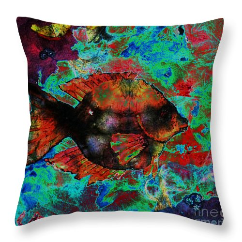 Fish Throw Pillow featuring the mixed media Aquatic Director 2 by Sue Duda