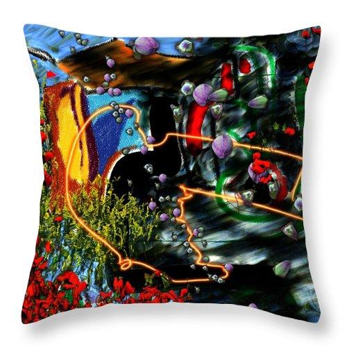 Ocean Water Deep Sea Nature Salad Throw Pillow featuring the digital art Aquatic Salad by Veronica Jackson