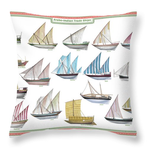 Boat Throw Pillow featuring the painting Arab and Indian trade ships by The Collectioner