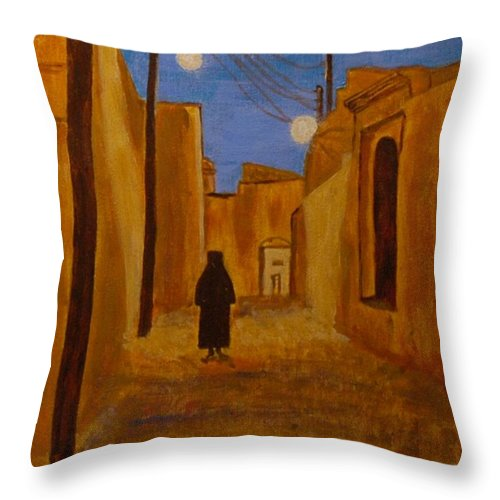 Arab Throw Pillow featuring the painting Arab Quarter by Vitor Fernandes VIFER