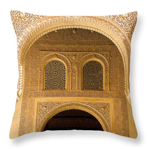 Cuarto Throw Pillow featuring the photograph Arabesque Ornamental Designs At The Casa Real In The Nasrid Palaces At The Alhambra by Mal Bray