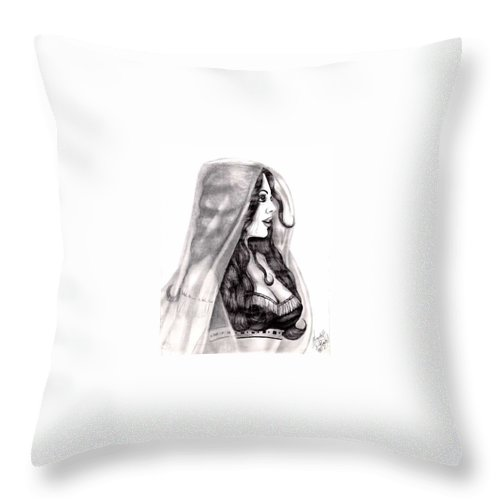 Figure Throw Pillow featuring the drawing Arabian Beauty by Scarlett Royal