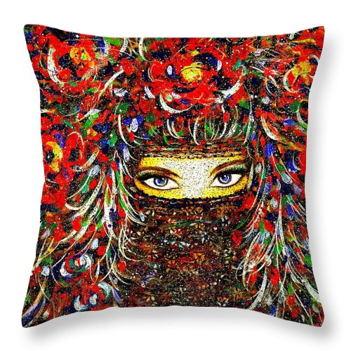 Woman Throw Pillow featuring the painting Arabian Eyes by Natalie Holland