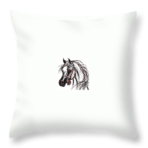 Arabian Horse Cards Throw Pillow featuring the digital art Arabian Horse by Stacey Mayer