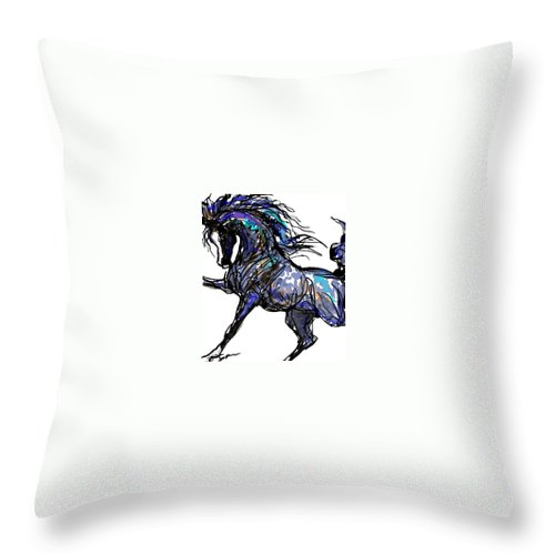 Horse Card Throw Pillow featuring the digital art Arabian In Blue by Stacey Mayer