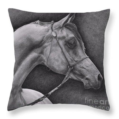 Horse Throw Pillow featuring the drawing Arabian by Karen Townsend
