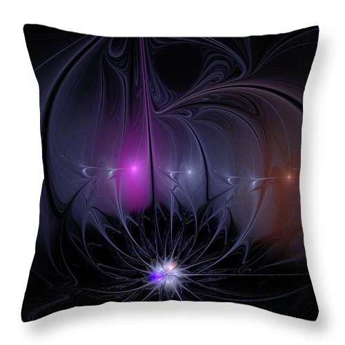 Flame Fractal Throw Pillow featuring the digital art Arabian Nights by Ann Garrett