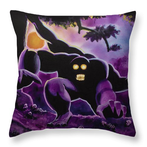 Magic The Gathering Throw Pillow featuring the painting Arabian Nights by Ken Meyer jr