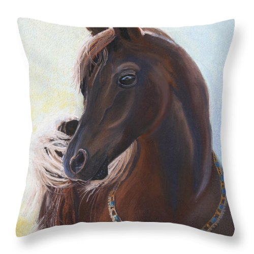 Horse Throw Pillow featuring the painting Arabian Prince by Heather Coen