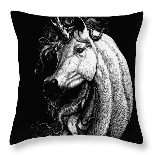 Fantasy Throw Pillow featuring the drawing Arabian Unicorn by Stanley Morrison