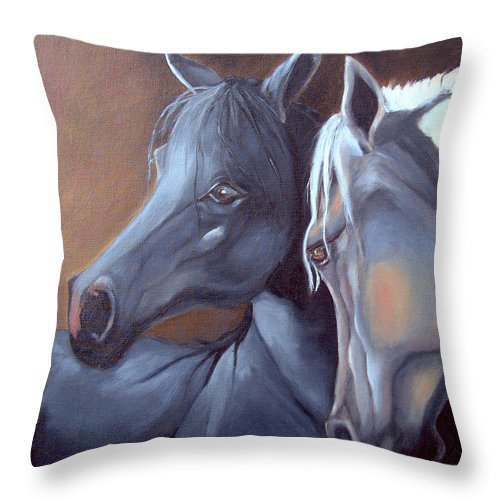 Equestrian Art Throw Pillow featuring the painting Arabique by Portraits By NC