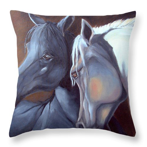 Equestrian Art Throw Pillow featuring the painting Arabique by Enzie Shahmiri
