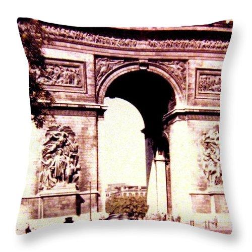 1955 Throw Pillow featuring the photograph Arc De Triomphe 1955 by Will Borden