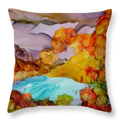 Fall Throw Pillow featuring the mixed media Arcadia by Susan Kubes