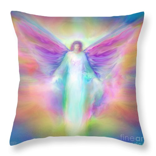 Angel Paintings Throw Pillow featuring the painting Archangel Raphael Healing by Glenyss Bourne