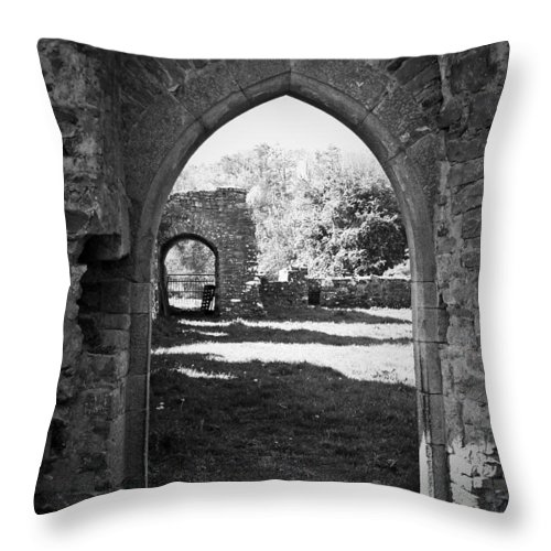 Irish Throw Pillow featuring the photograph Arched Door At Ballybeg Priory In Buttevant Ireland by Teresa Mucha