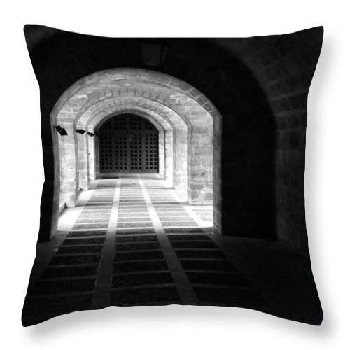Landscape Throw Pillow featuring the photograph Arched Hallway In Palma by Donna Corless