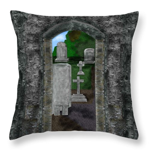 Digital Landscape Throw Pillow featuring the painting Arches And Cross In Ireland by Anne Norskog