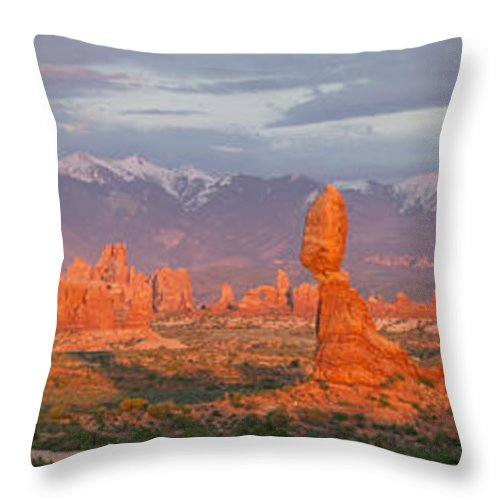 Arches Throw Pillow featuring the photograph Arches National Park Sunset by Aaron Spong