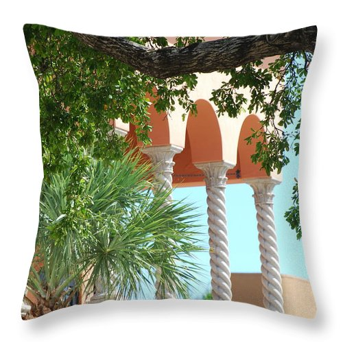 Architecture Throw Pillow featuring the photograph Arches Thru The Trees by Rob Hans