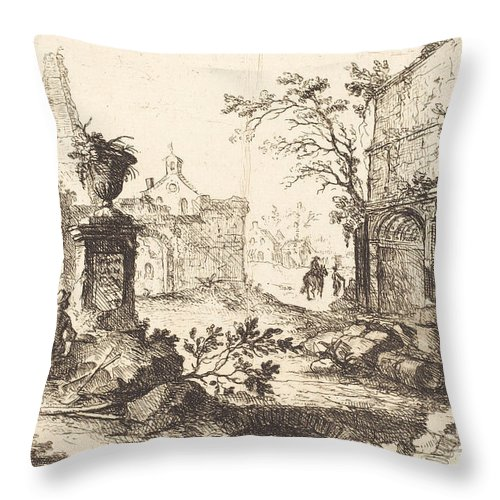 Throw Pillow featuring the drawing Architectural Fantasy With Roman Ruins by Joseph Stephan