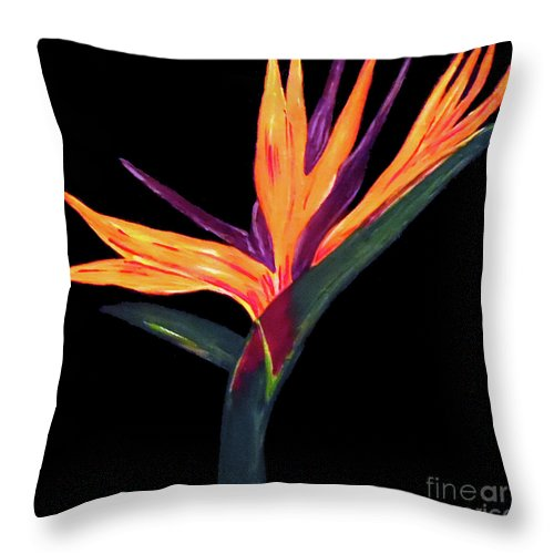 Birds Of Paradise Throw Pillow featuring the painting Architecture of The Almighty by Jilian Cramb - AMothersFineArt