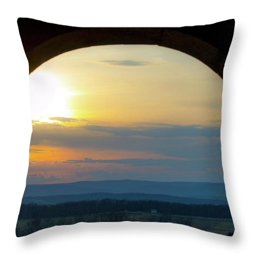 Arch Throw Pillow featuring the photograph Archway Landscape by Ron Valenzia