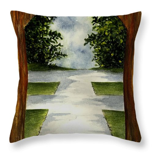 Archway Throw Pillow featuring the painting Archway by Michael Vigliotti