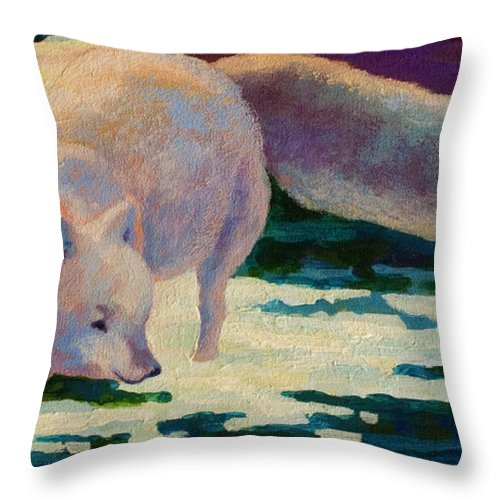 Arctic Throw Pillow featuring the painting Arctic Fox by Marion Rose