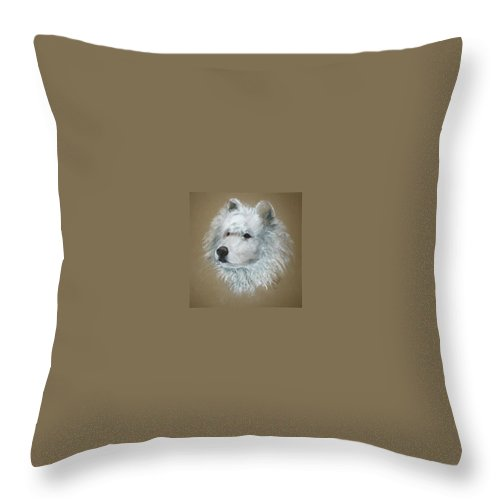 Pastel Throw Pillow featuring the drawing Arctic Majestry by Cori Solomon