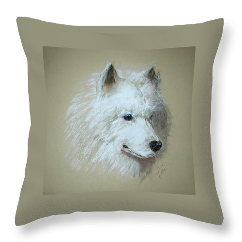 Dog Throw Pillow featuring the drawing Arctic Serenity by Cori Solomon