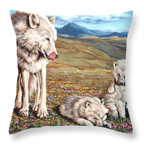 Arctic Wolf Throw Pillow featuring the painting Arctic Summer by Richard De Wolfe