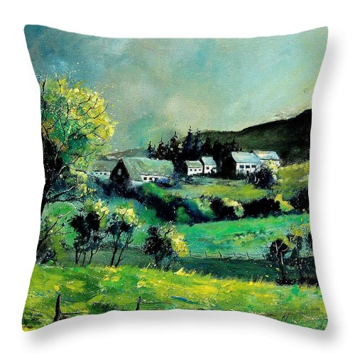 Spring Throw Pillow featuring the painting Ardennes 79 by Pol Ledent