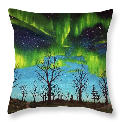 Aurora Borealis Northern Lights Trees Night Sky Throw Pillow featuring the painting Are We There Yet by Beth Waltz