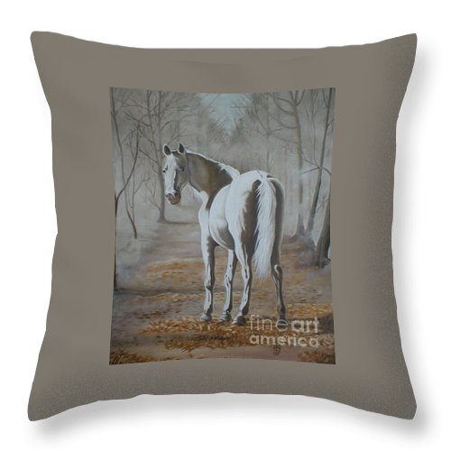 White Horse Looking Autumn Leaves Trees Avenue Shadows Throw Pillow featuring the painting Are You Coming by Pauline Sharp