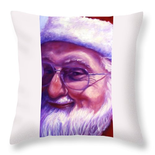 Portrait Throw Pillow featuring the painting Are You Sure You Have Been Nice by Shannon Grissom