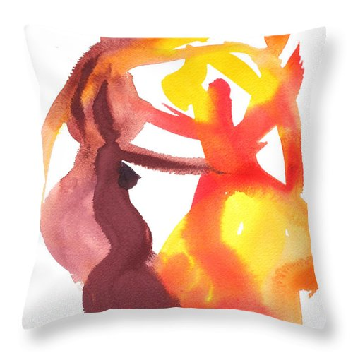 Matisse Colour Abstract Painting Watercolour Throw Pillow featuring the painting Arembepe 20 by Jorge Berlato