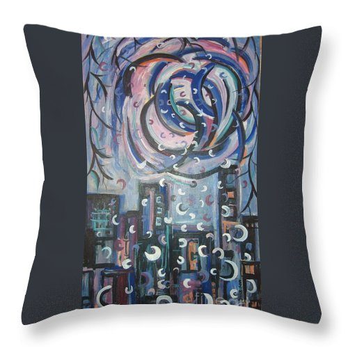Abstract Throw Pillow featuring the painting Aren by Seon-Jeong Kim