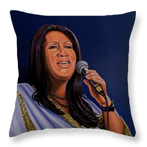 Aretha Franklin Throw Pillow featuring the painting Aretha Franklin Painting by Paul Meijering