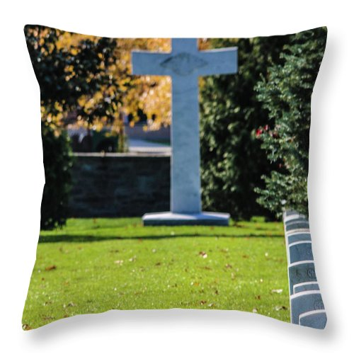 The Argonne Cross Memorial Is A Memorial To American Military Personnel Who Died Fighting In France During World War I. It Was Erected On November 13 Throw Pillow featuring the photograph Argonne Cross Memorial by William Rogers