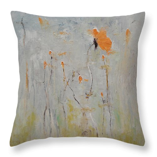 Floral Throw Pillow featuring the painting Aria by Barbara Andolsek