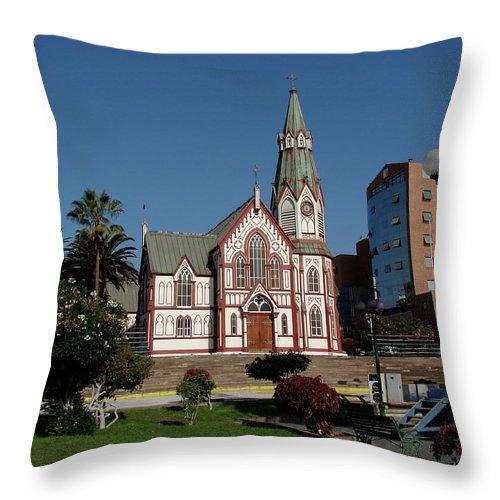 Arica Throw Pillow featuring the photograph Arica Chile Church by Brett Winn
